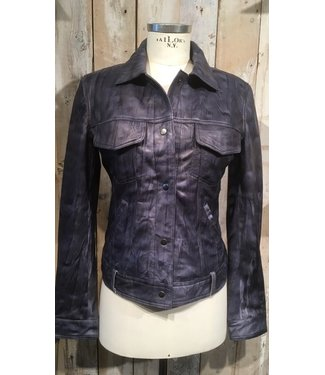 Cigno Nero Black/blue fitted leather jacket
