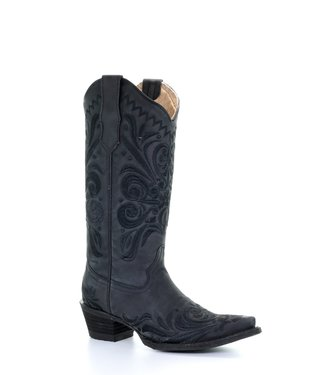 Circle G by Corral Black leather cowboy boot