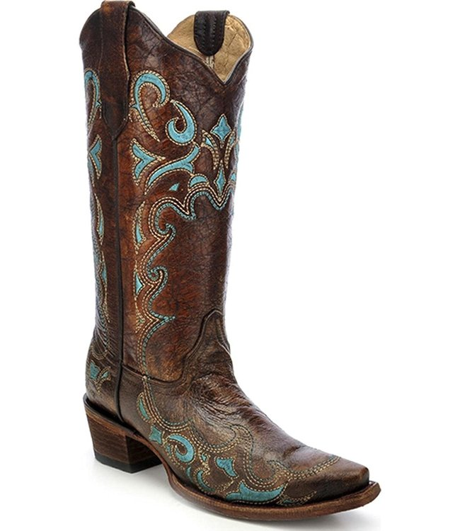 Circle G by Corral Brown  leather western boot  with turquoise embroidery