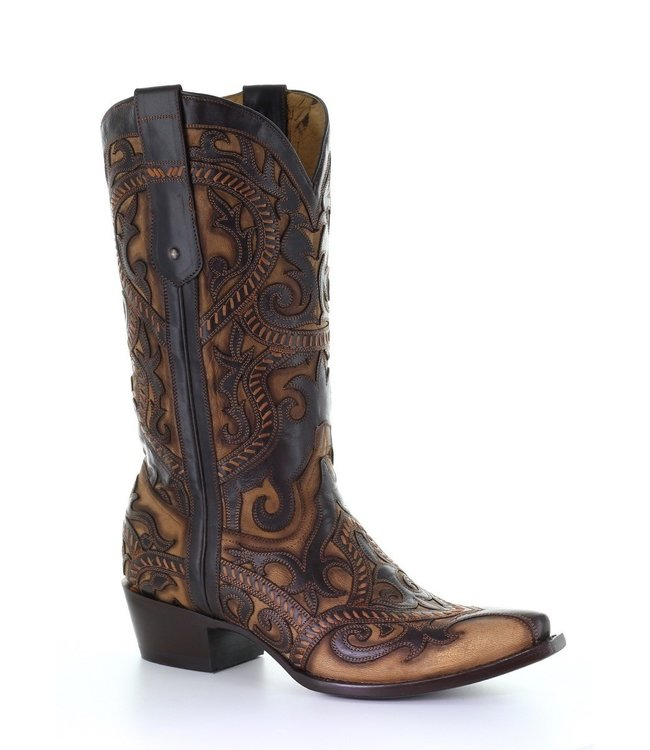 Corral  Brown cowboy boots in two layers