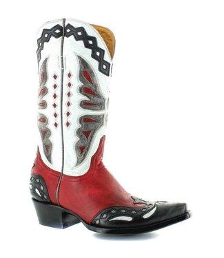 Old Gringo Cowboylaars in rood en wit leer