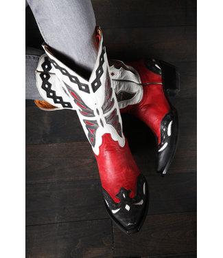 Old Gringo Cowboystiefel aus rotem und weißem Leder