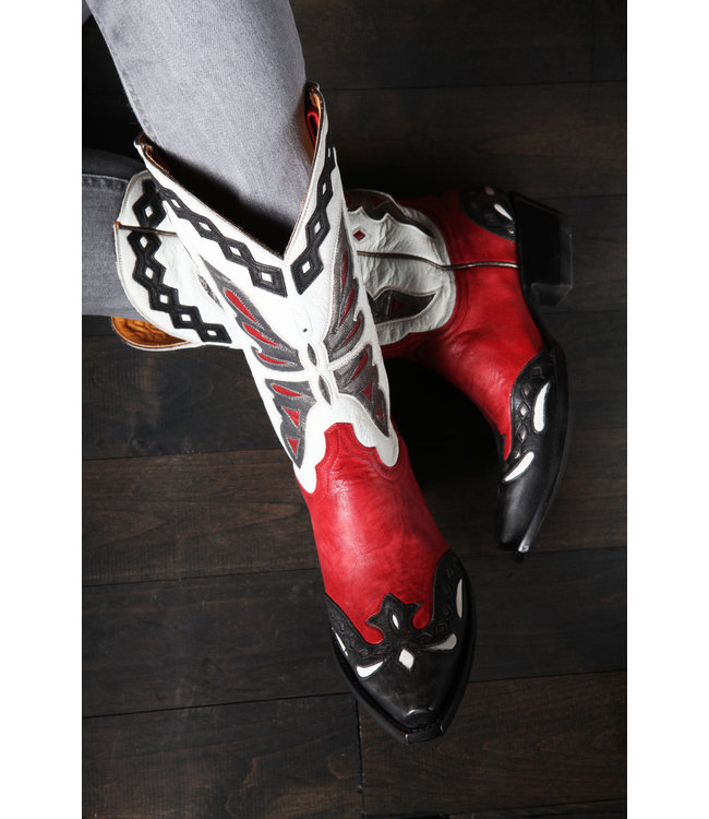 Old Gringo Cowboy boot in red and white leather