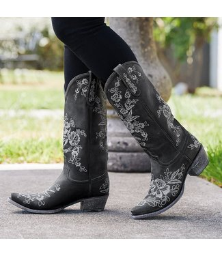 Lane Black leather cowboy boot  with flowers