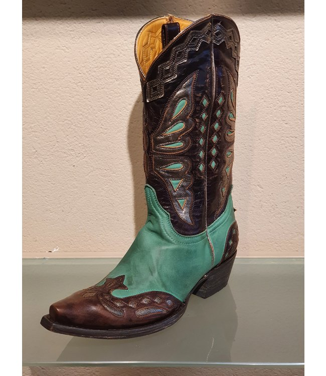Old Gringo Cowboy boot in green and dark brown leather