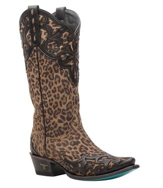 Lane Brown cowboy bootswith leopard print