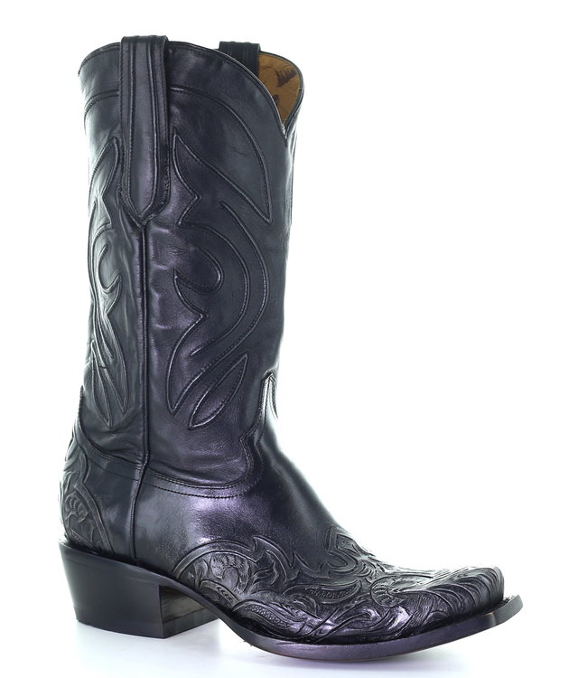 Corral  Zwarte cowboylaars met gegraveerde voet