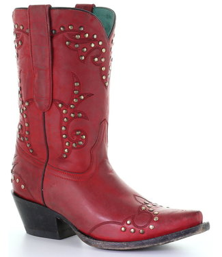 Corral  Red semi-high leather cowboy boots