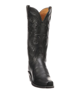 Lucchese Black leather cowboy boot with 7toe