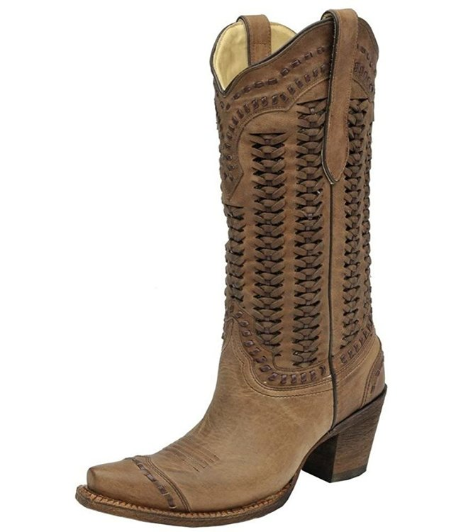 Corral  Brown leather cowboy boot with braided shaft