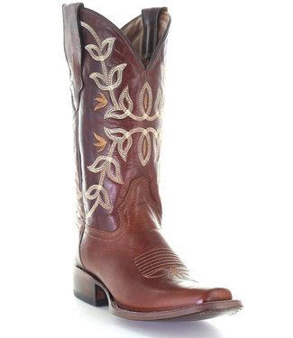 Circle G by Corral Cognac leather westerm boot with square toe