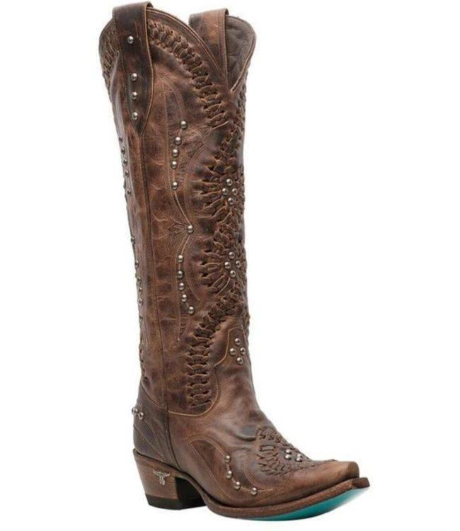 Lane Hoher brauner Cowboystiefel mit Nieten
