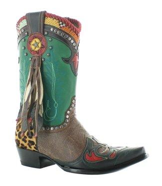 Old Gringo- Double D Ranch Cowboylaars in groen en bruin leer