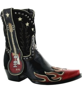 Old Gringo- Double D Ranch Cowboy boot in black and red leather