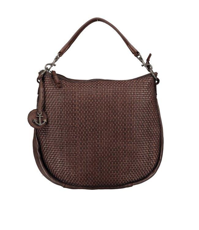 Harbour 2nd Dark brown braided leather bag Maureen
