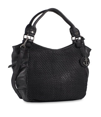 Harbour 2nd Black braided leather bag Milva