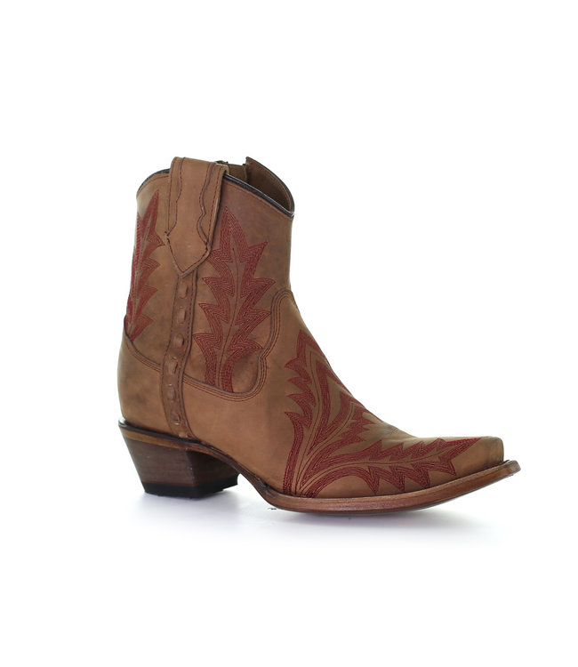 Circle G by Corral Brown leather ankle boot  with red stitching