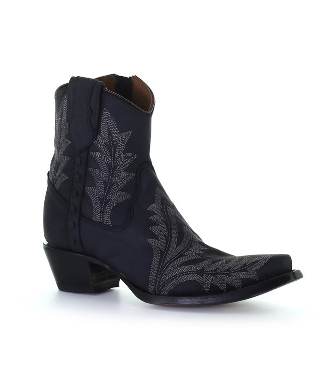 Circle G by Corral Black leather ankle boot  with grey stitching
