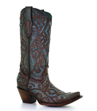 Corral  Turquoise and brown  western boots in two layers