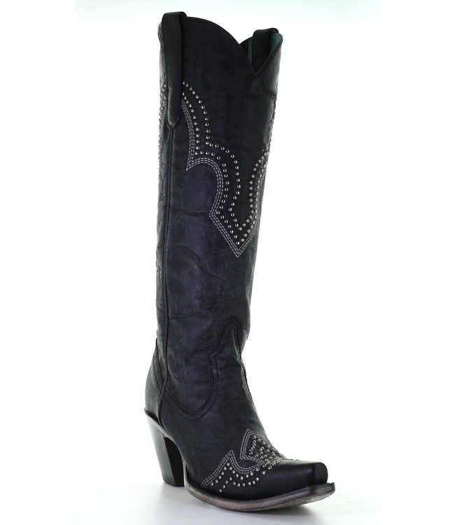 Corral  High black cowboy boots with studs