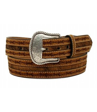 Nocona Belt Company Brown leather belt with barbed wire