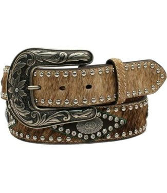 Nocona Belt Company Leather belt with cow hair