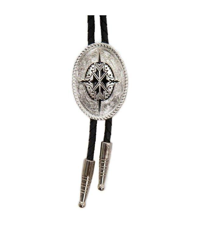 Oval silver colored Bolo tie