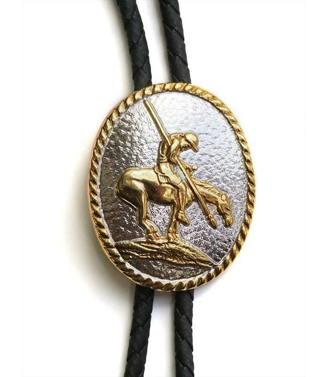 Oval bolo tie with rider