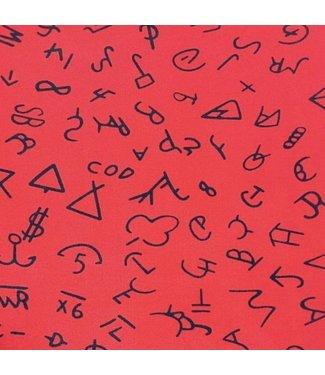 Rode shawl met symbolen