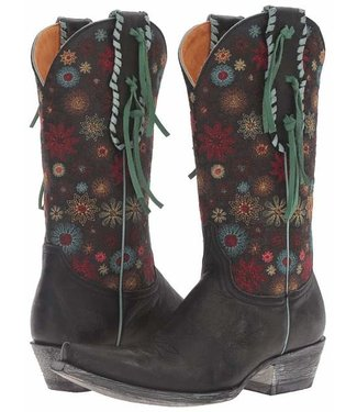 Old Gringo Black cowboy boot with embroidery