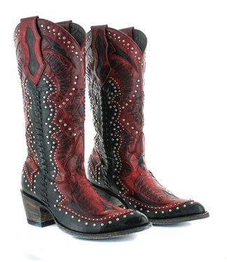 Old Gringo Black red cowboy boot with studs