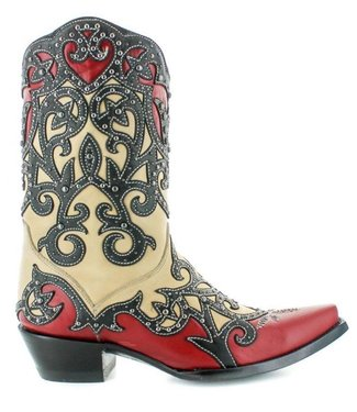 Old Gringo Red black cowboy boot with studs