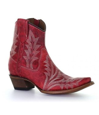 Circle G by Corral Red leather ankle boots with white stitching