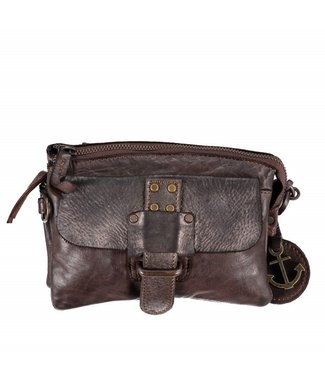 Harbour 2nd Dark brown leather bag with compartments Luna