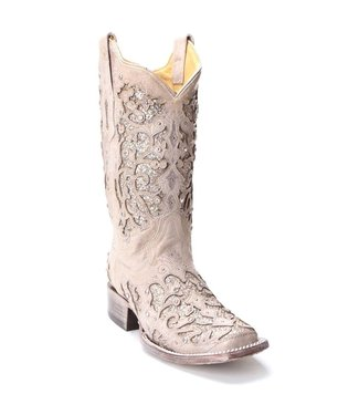 Corral  White cowboy boots with glitter