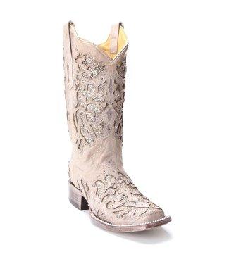 Corral  Witte cowboy laarzen met glitters