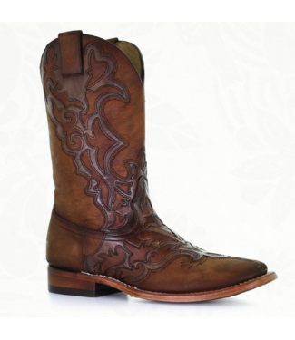 Corral  Brown cowboy boots with overlay