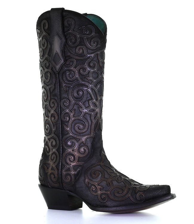 Corral  Dark gray cowboy boots in two layers