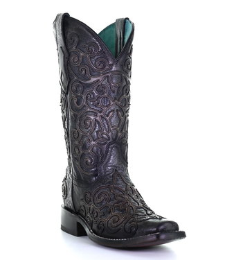 Corral  Donkergrijze cowboy laarzen in twee lagen