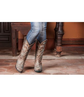 Lane Taupe leather western boots