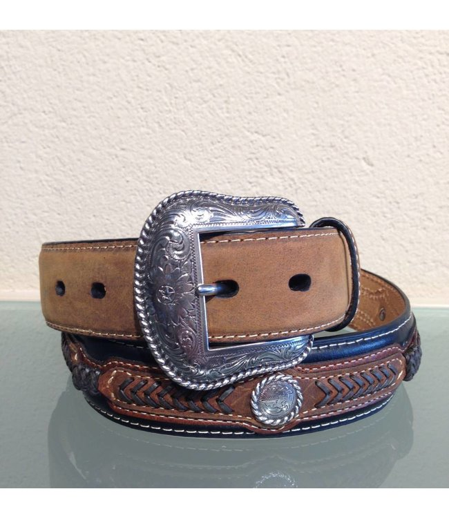 Nocona Black and brown leather belt