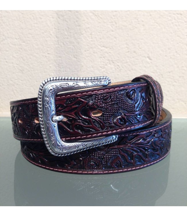 Nocona Dark brown leather belt floral tooled