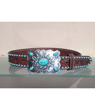 Nocona Brown leather belt with turquoise