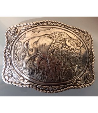 Crumrine Silver colored western buckle with buffalo