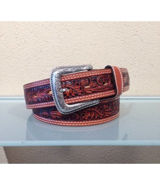 Nocona Cognac leather belt floral tooled
