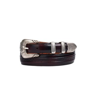 Lucchese Boot Company Dark red goat leather belt