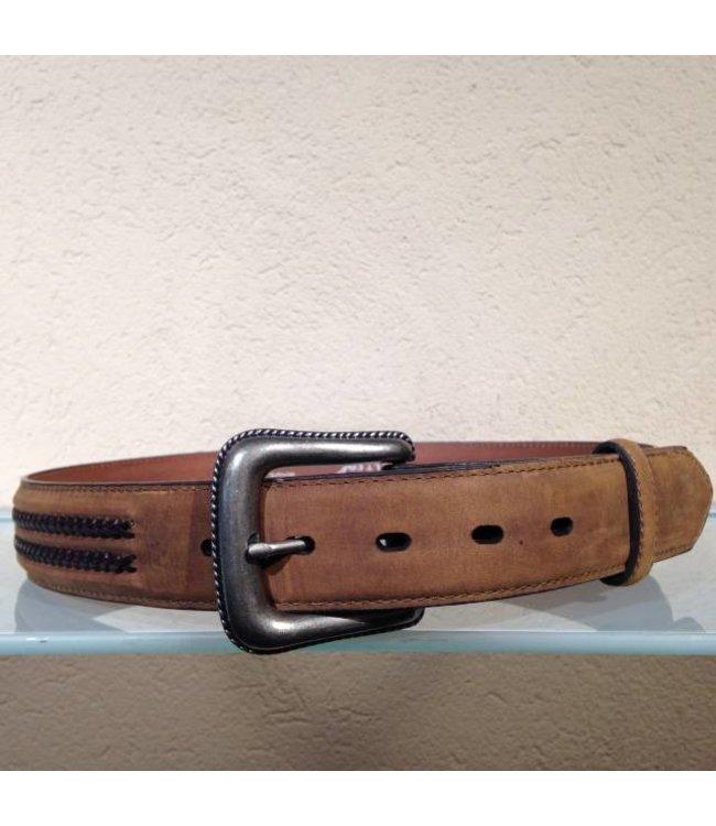 Nocona Belt Company Bruine leren riem met vlechtwerk
