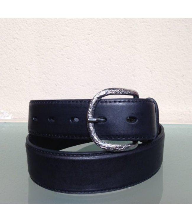 Nocona Belt Company Black leather belt with uplay