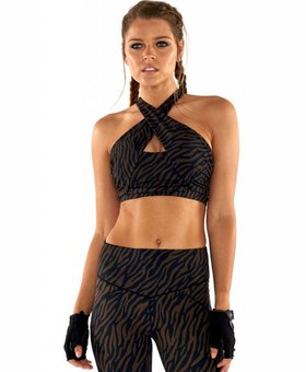 L'urv Wild Thing Wrap Halter Crop  - Chocolate