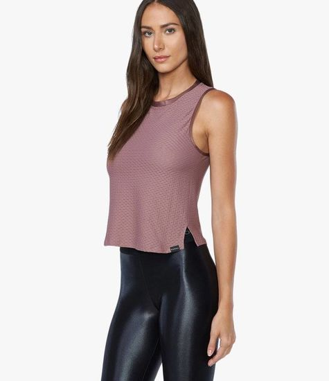 Koral Activewear Crescent Crop Top Marsala